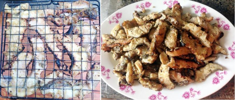 Quệt dầu ăn vào vỉ cho đỡ dính rồi nướng qua than hoa, cá sau khi đã nướng cho ra đĩa riêng.